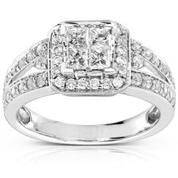 14k Gold 1ct TDW Quad Princess Halo Diamond Engagement Ring