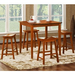 Salvador Oak 5-piece Pub Set with 24-inch Stools