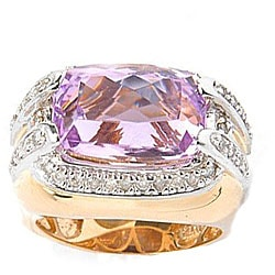 Michael Valitutti 14k Gold 3/8ct TDW Diamond Kunzite Ring (I, SI)