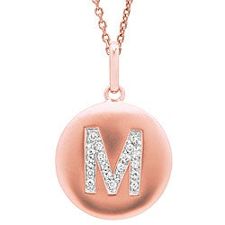 14k Rose Gold Diamond Initial 'M' Disc Necklace