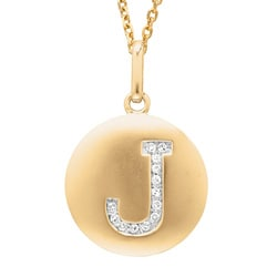 14k Yellow Gold Diamond Initial &#39;J&#39; Disc Necklace