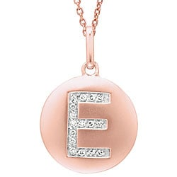 14k Rose Gold Diamond Initial 'E' Disc Necklace