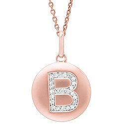 14k Rose Gold Diamond Initial 'B' Disc Necklace