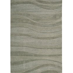 Nourison Natures Terrain Hand-tufted Rolling Waves Green Wool Rug (3'6 x 5'6)