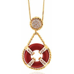 Michael Valitutti 14k Gold Coral/ 1/5ct TDW Diamond Necklace