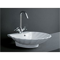 Shell Bathroom Sink : Porcelain Shell-shape Bath Vessel Sink - 11720606 - Overstock.com ...