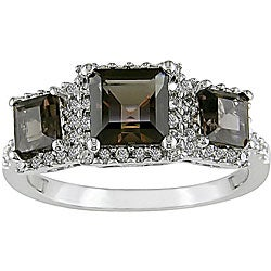 14k Gold 1/3ct TDW Diamond Smokey Quartz Ring (H-I-J, I1-I2)