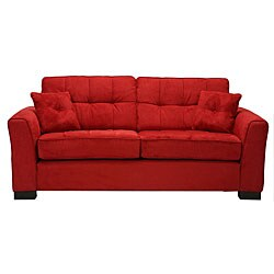 Chey Crimson Red Microfiber Sofa 11726282 Overstock