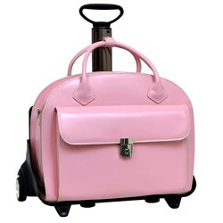 McKlein Pink Glen Ellyn Leather Detachable Wheeled Laptop Case