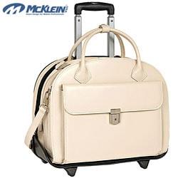 McKlein Sand Glen Ellyn Leather Detachable-Wheeled Laptop Case
