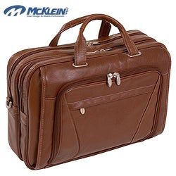 McKlein Irving Park Brown Leather Dual Compartment Laptop Briefcase