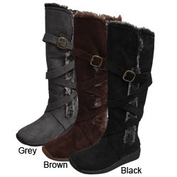 Adi Designs Women&#39;s Faux Fur Microsuede Boots