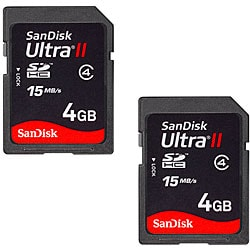 SanDisk 4GB Ultra II SDHC Memory Cards (Case of 2--Bulk Packaging)