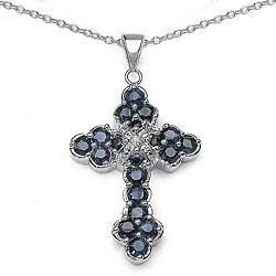 Malaika Sterling Silver Genuine Blue Sapphire Cross Necklace