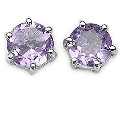 Malaika Sterling Silver Genuine Amethyst Stud Earrings
