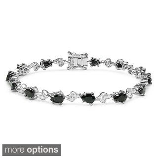 Malaika Sterling Silver Genuine Emerald or Black Sapphire Bracelet