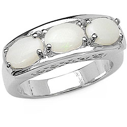 Malaika Sterling Silver 3-stone Genuine Opal Ring (Size 7)
