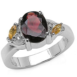 Malaika Sterling Silver Garnet and Citrine Ring (Size 7)