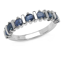 Malaika Sterling Silver Genuine Blue Sapphire Ring (Size 7)
