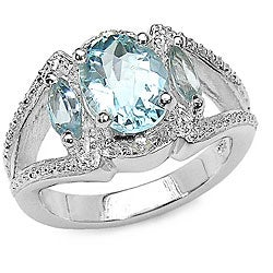 Malaika Sterling Silver Blue Topaz and White Topaz Ring