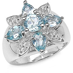 Malaika Sterling Silver and Blue Topaz Ring