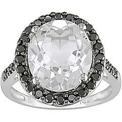 10k Gold 1/3ct TDW Black Diamond White Topaz Ring