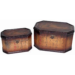 Set of 2 Eight-sided Landscape Storage Boxes (China)