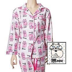 Leisureland Women's 'Cat's Meow' Flannel Pajamas