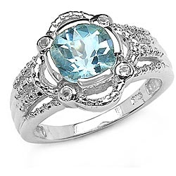 Malaika Sterling Silver Genuine Blue Topaz Round-cut Ring