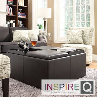 Inspire Q Avenue Faux Leather Tray Top Storage Co