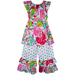 AnnLoren Girl&#39;s Sassy Floral and Dots Capri Outfit