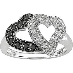 14k Gold 1/4ct Black and White Diamond Heart Ring (H-J, I1-I2)