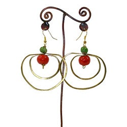 Brass Red and Green Beads and Loops #12 Earrings (Kenya)