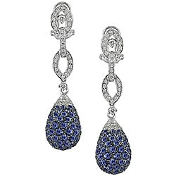 18k Gold 1ct TDW Diamond and Sapphire Earrings (G-H-I, SI)