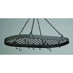 Graphite Oval Pot Rack with 16 Hooks