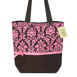 Sweet JoJo Designs Pink/ Chocolate Brown Damask Print Tote Bag