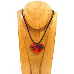 Red Glass Heart Sprial Necklace (Chile)