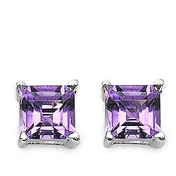 Malaika Silver Genuine Amethyst Stud Earrings