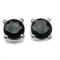 Malaika Silver Genuine Sapphire Stud Earrings