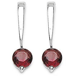 Malaika Silver Round Garnet Earrings
