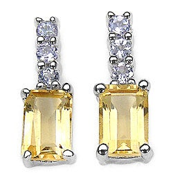 Malaika Sterling Silver Citrine and Tanzanite Earrings