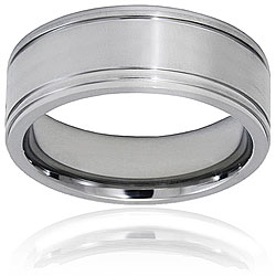 West Coast Jewelry Men's Titanium Brushed and Polished Grooved Ring (9mm)