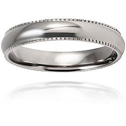 West Coast Jewelry Men's Titanium Polished and Rounded Milgrain-edge Ring (4-mm)
