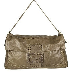 Fendi Brown Leather Large Convertible Clutch