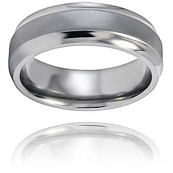 West Coast Jewelry Men's Titanium Brushed and Polished Ring (7mm )