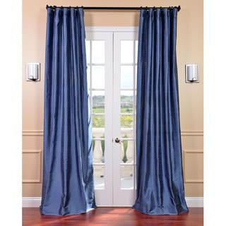 Signature Winter Blue Textured Silk Curtain Panel