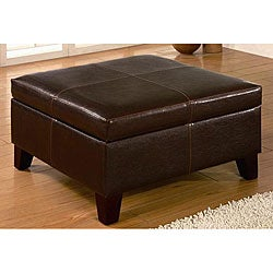 Dark Brown Square Ottoman Storage Bench