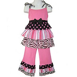 Ann Loren Boutique Girl's 2-piece Pink/ Black Rumba Capri Set
