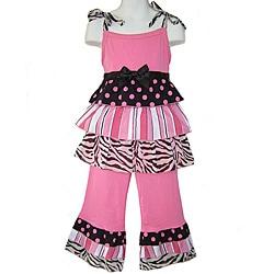 Ann Loren Boutique Girl's 2-piece Pink/ Black Rumba Capri Set