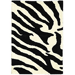 Safavieh Handmade Soho Zebra Wave White/ Black N. Z. Wool Rug (2' x 3')